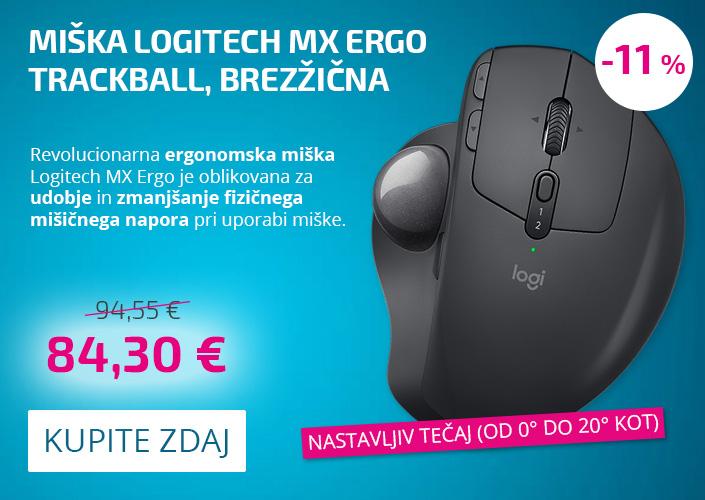 Miška Logitech MX ERGO Trackball, brezžična