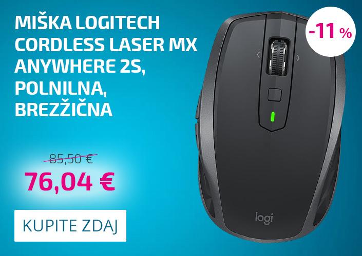 Miška Logitech Cordless Laser MX Anywhere 2S, polnilna, brezžična
