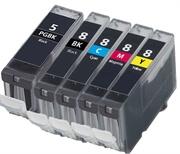 Komplet kartuš za Canon CLI-8 BK/C/M/Y + PGI-5BK, kompatibilen