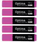 Marker Fluo Optima, roza, 5 kosov
