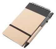 Set blok špiralni + kemični svinčnik, črna