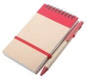 Set blok špiralni + kemični svinčnik, rdeča