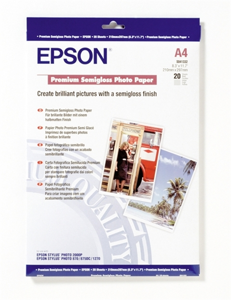 Foto papir Epson C13S041332, A4, 20 listov, 251 gramov