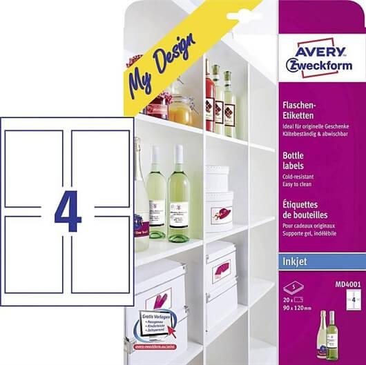 Etikete za steklenice Zweckform MD4001, 5 listov