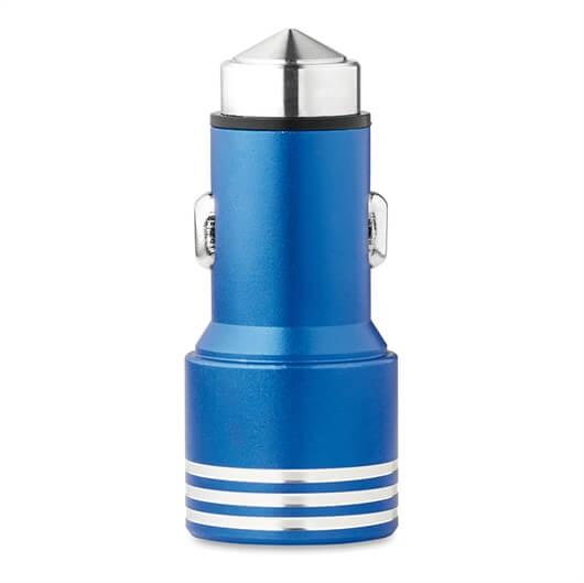 Polnilec za avto USB Cromcar, 2 vhoda, modra