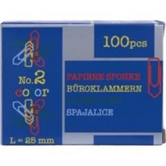 Sponke za papir Niko, barvne, 25 mm, 100 kosov