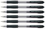 Kemični svinčnik Pilot Super Grip Fine BPGP-10R-F, črna, 6 kosov
