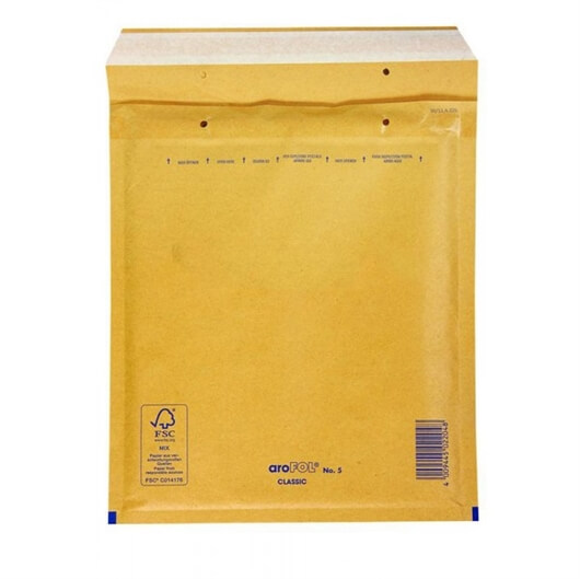 Kuverta D št.4, oblazinjena, 180 x 260 mm, rjava, 10 kosov