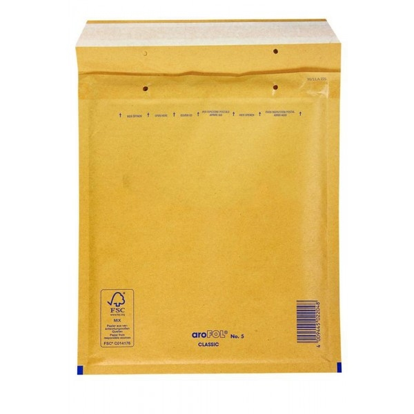 Kuverta E št.5, oblazinjena, 220 x 260 mm, rjava, 10 kosov