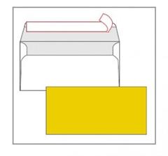 Kuverta amerikanka, barvna (rumena) 220 x 110 mm, brez okenca, 25 kosov