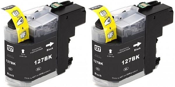 Kartuša za Brother LC127XLBK (črna), dvojno pakiranje, kompatibilna