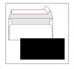 Kuverta amerikanka, barvna (črna) 220 x 110 mm, brez okenca, 25 kosov