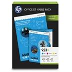 Komplet kartuš HP 1CC21AE nr.953XL (modra, škrlatna, rumena) + foto papir, original