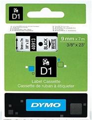 Trak Dymo D1 409130, 9 mm / 7 m (črna/bela), original