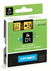 Trak Dymo D1 450180, 12 mm / 7 m (črna/rumena), original