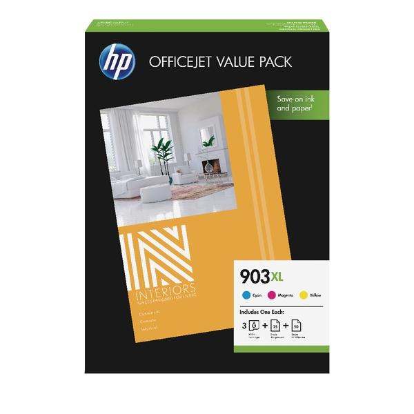 Komplet kartuš HP 1CC20AE nr.903XL (modra, škrlatna, rumena) + foto papir, original