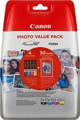 Komplet kartuš Canon CLI-551 (BK/C/M/Y), original + papir (6508B005AA)