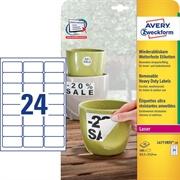Odstranljive etikete Zweckform L4773REV-20 63,5 x 33,9 mm, 20 listov, bela