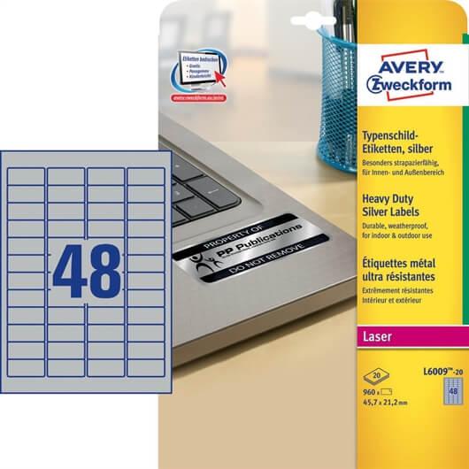 Etikete Zweckform L6009 45,7 x 21,2 mm, srebrne