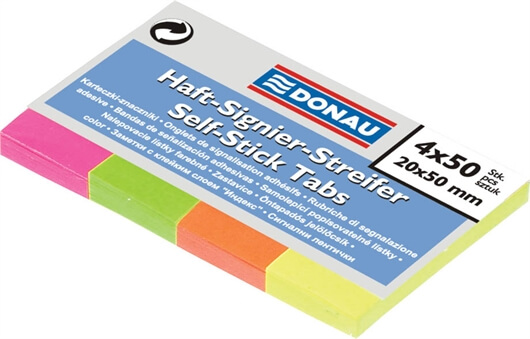 Samolepilni indeks lističi v bloku Donau (20 x 50 mm), neon, 200 lističev
