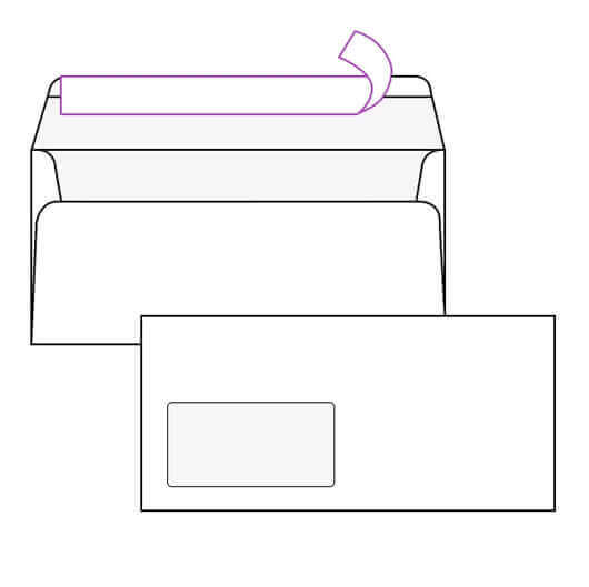 Kuverta amerikanka, 230 x 110 mm, z levim okencem, 100 kosov