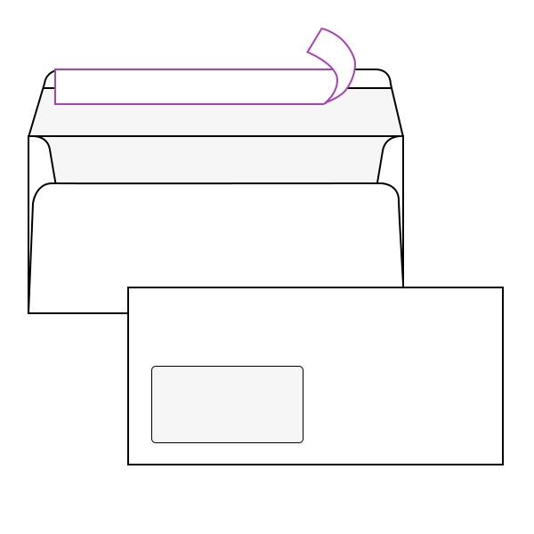 Kuverta amerikanka, 230 x 110 mm, z levim okencem, 500 kosov