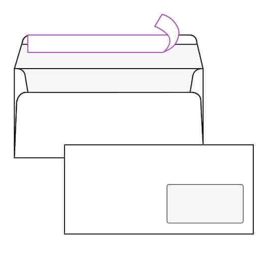Kuverta amerikanka, 230 x 110 mm, z desnim okencem, 500 kosov