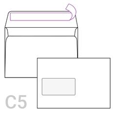 Kuverta C5 z levim okencem, 162 x 229 mm, bela, 1.000 kosov