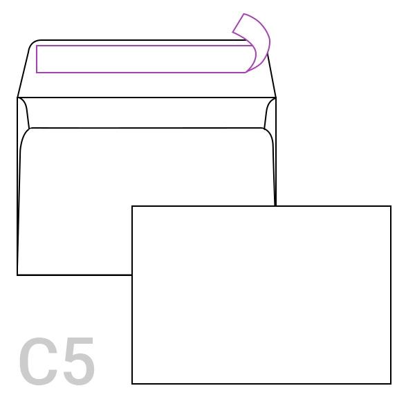 Kuverta C5, 162 x 229 mm, bela, 50 kosov
