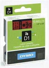 Trak Dymo D1 45017, 12 mm / 7 m (črna/rdeča), original