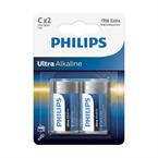 Baterija Philips Ultra Alkaline C-R14, 2 kosa