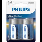 Baterija Philips Ultra Alkaline D-R20, 2 kosa