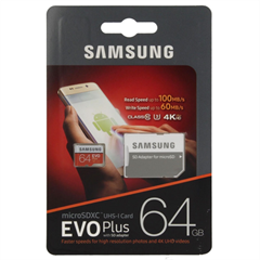 Spominska kartica Samsung  EVO+ Micro SDXC UHS-I class10, 64 GB + SD adapter