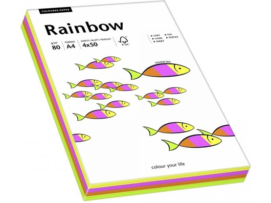 Barvni fotokopirni papir Papyrus Rainbow A4, intenzivna mavrica, 100 listov