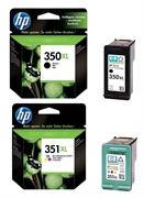Komplet kartuš HP nr.350XL (BK) + nr.351XL (barvna), original