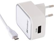 Stenski polnilec USB Sandberg, 1 vhod, bela