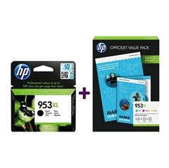 Komplet kartuš HP 1CC21AE nr.953XL (C/M/Y) + L0S70AE nr.953XL (BK) + foto papir, original