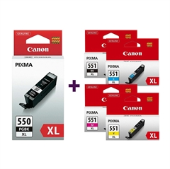 Komplet kartuš Canon CLI-551 XL (BK/C/M/Y) + PGI-550BK XL (črna), original