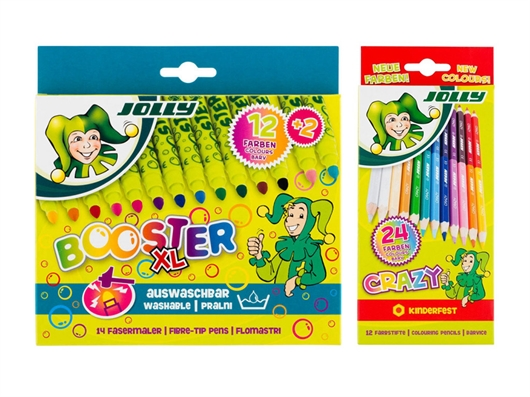 Flomastri Jolly Booster XL + barvice Jolly Kinderfest Crazy