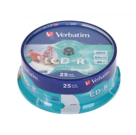 CD-R medij Verbatim 700MB/80min 52x, 25 kosov, printable