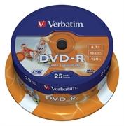 DVD-R medij Verbatim 4,7GB,  16x, 25 kosov, printable