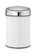 Koš za smeti Brabantia Touch, 3 L, bel, s stenskim nosilcem