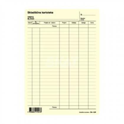 Obrazec skladiščna kartoteka (5,96) A5, rumena