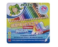 Barvice Jolly Kinderfest Supersticks Aqua, 24 kosov