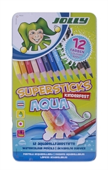 Barvice Jolly Kinderfest Supersticks Aqua, 12 kosov