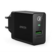Stenski polnilec USB Anker PowerPort +1 QC 3.0, 1 vhod, črna