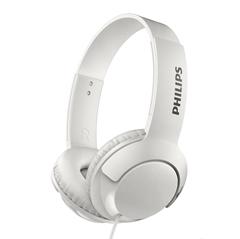 Slušalke z mikrofonom Philips Bass+ SHL3075, žične, bele