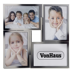 Okvir VonHaus za 4 fotografije, 10 x 15 cm, srebrn