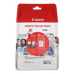Komplet kartuš Canon PG-560XL (črna) + CL-561XL (barvna) + papir (GP-501), original