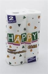 Papirnate brisače Happy, 2-slojne, 2 roli